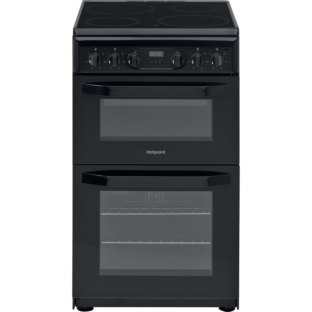 Hotpoint Cloe Double Oven Electric Cooker 50cm Black | HD5V93CCB