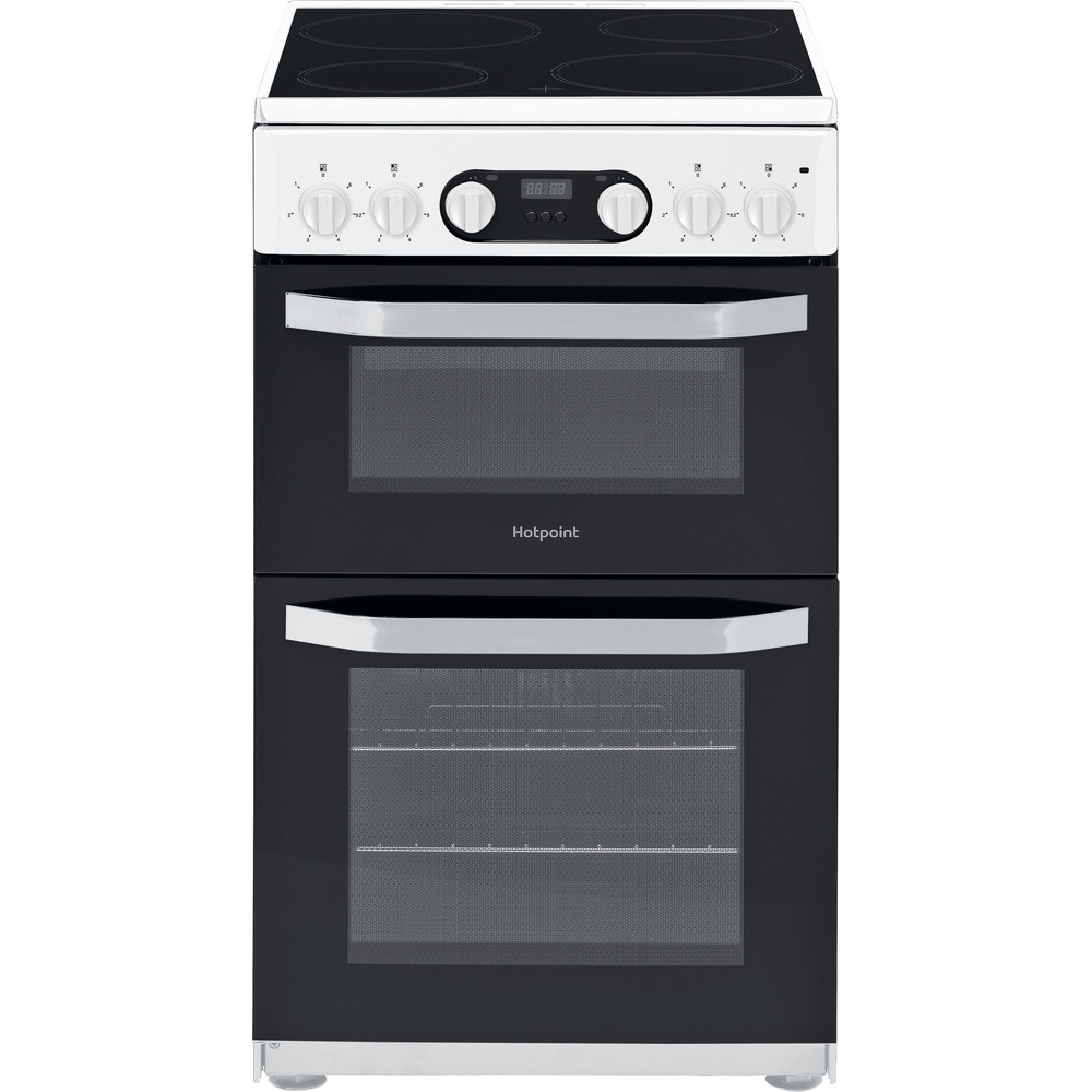 Hotpoint Cloe Double Oven Electric Cooker 50cm White | HD5V93CCW