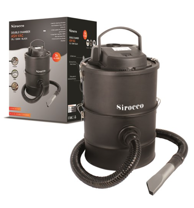 Sirocco Double Chamber 3 Filter Ash Vac 25Ltr