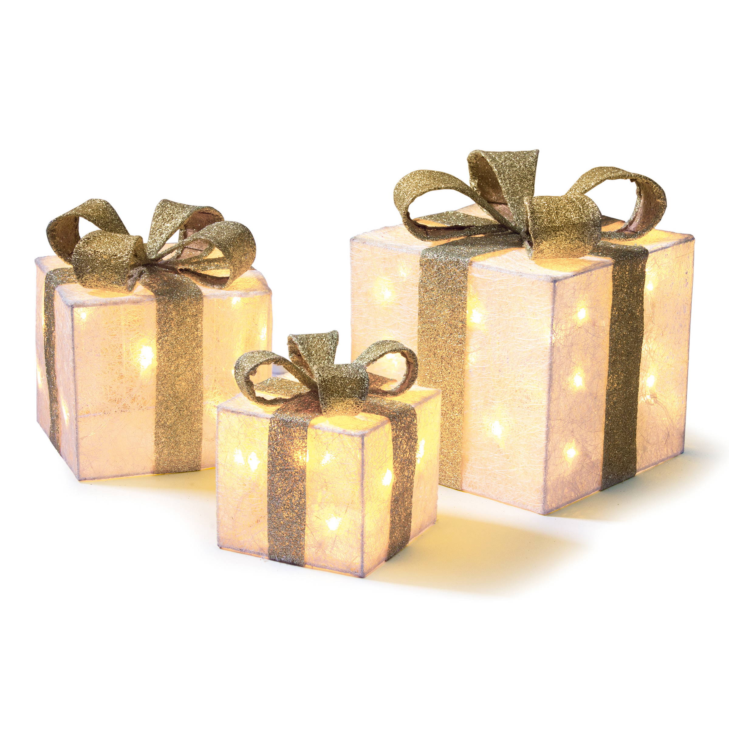 Set of 3 LED Light Up Christmas Parcels - Cream and Gold