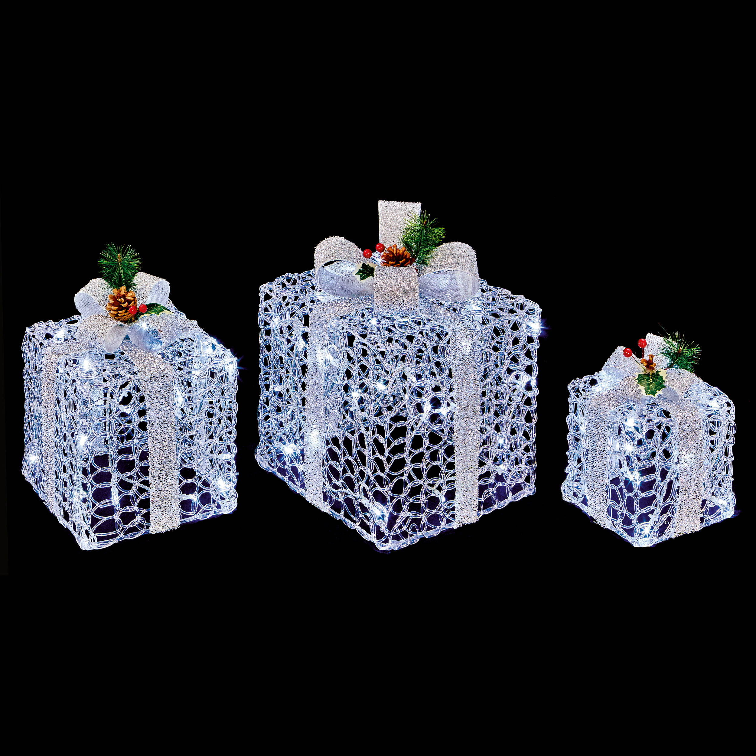Set of 3 LED Light Up Silver Christmas Parcels with Silver Bow