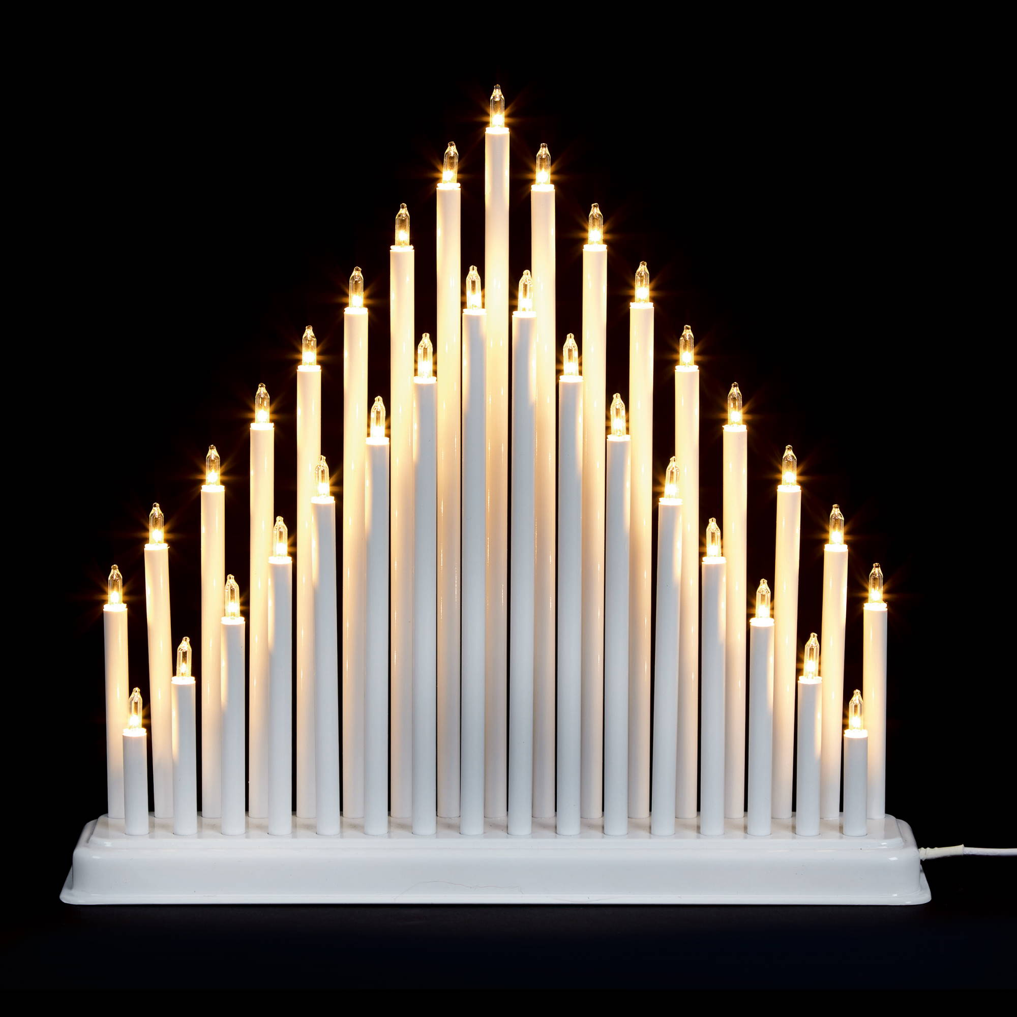 33 Light Christmas Candle Bridge Tower - White
