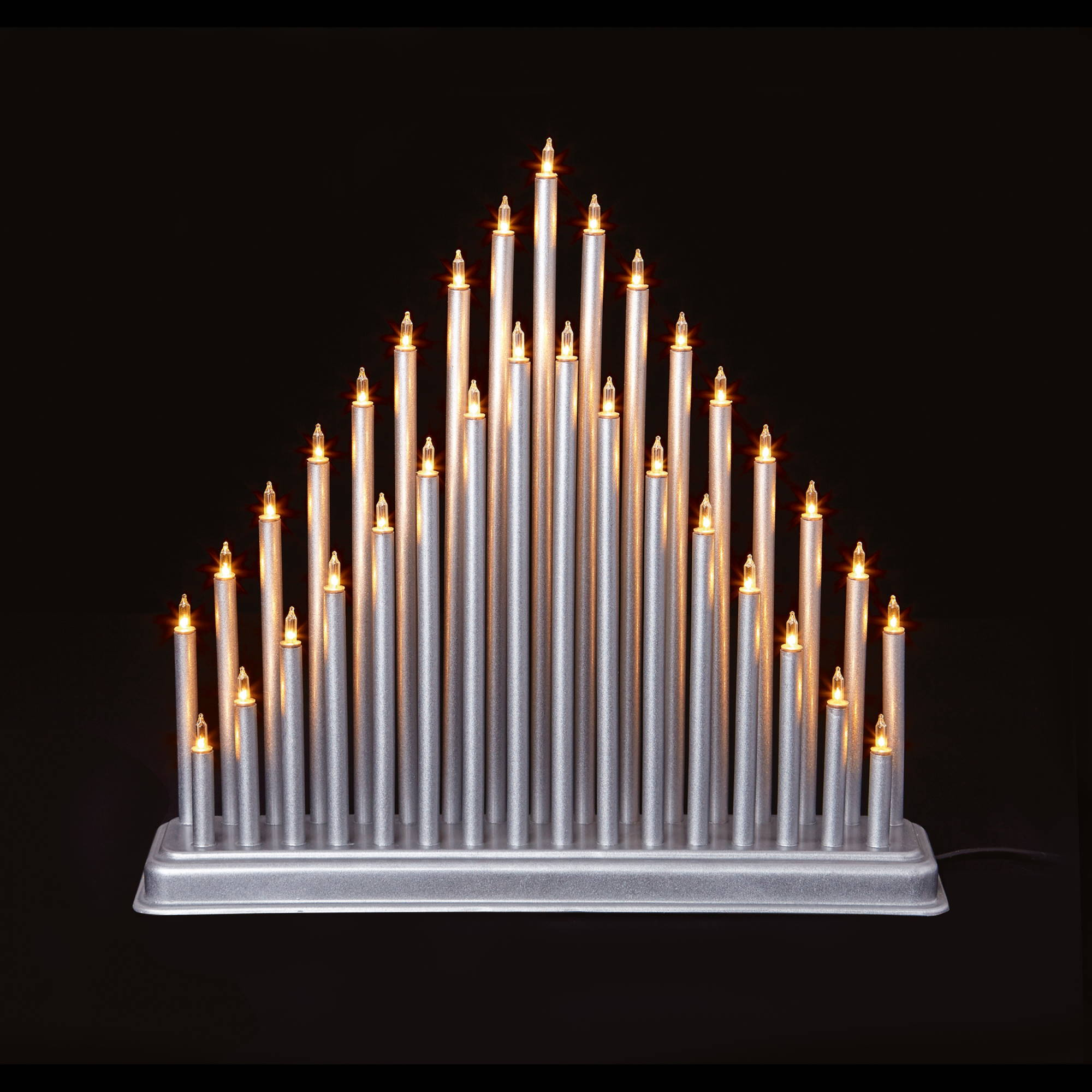 33 Light Christmas Candle Bridge Tower - Silver