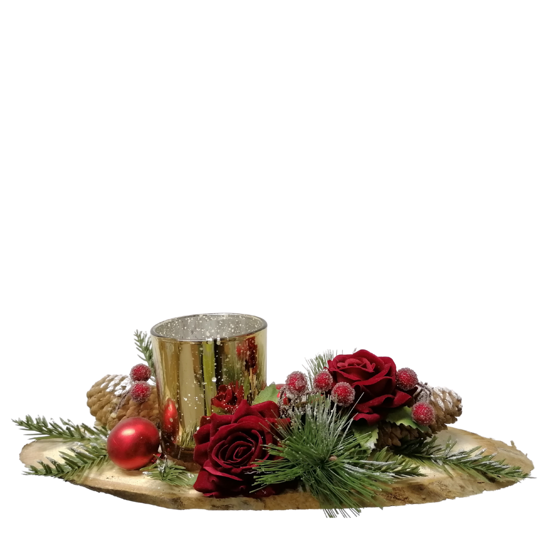 Red Rose Christmas Tealight Candle Holder
