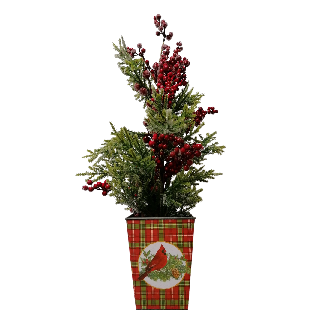 Red Berry & Christmas Foliage in Red Pot