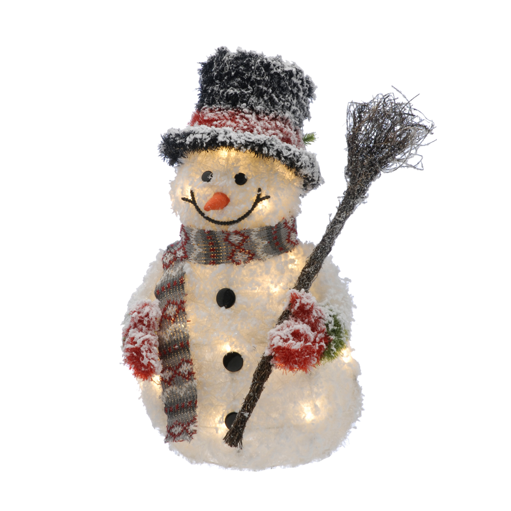 LED Snowman with Broom - 50cm