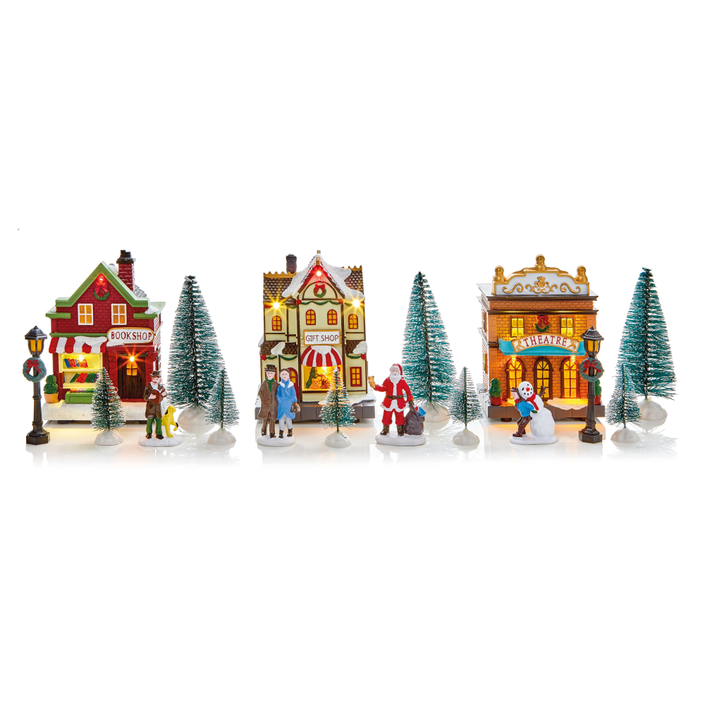 LED Christmas Village Set with Try Me Box - 17pce