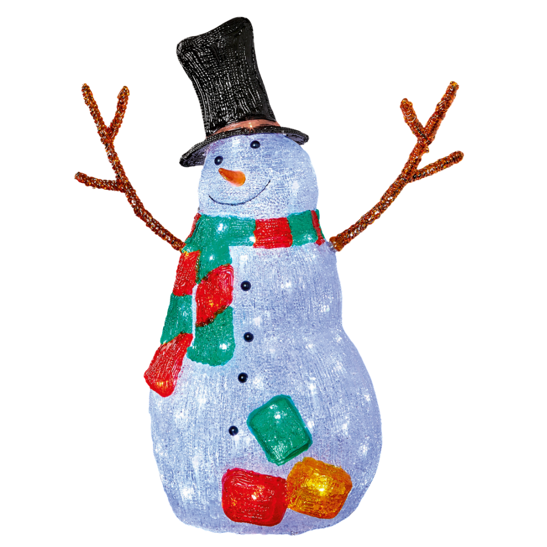 LED Snowman with Twig Arms & Scarf - 56cm
