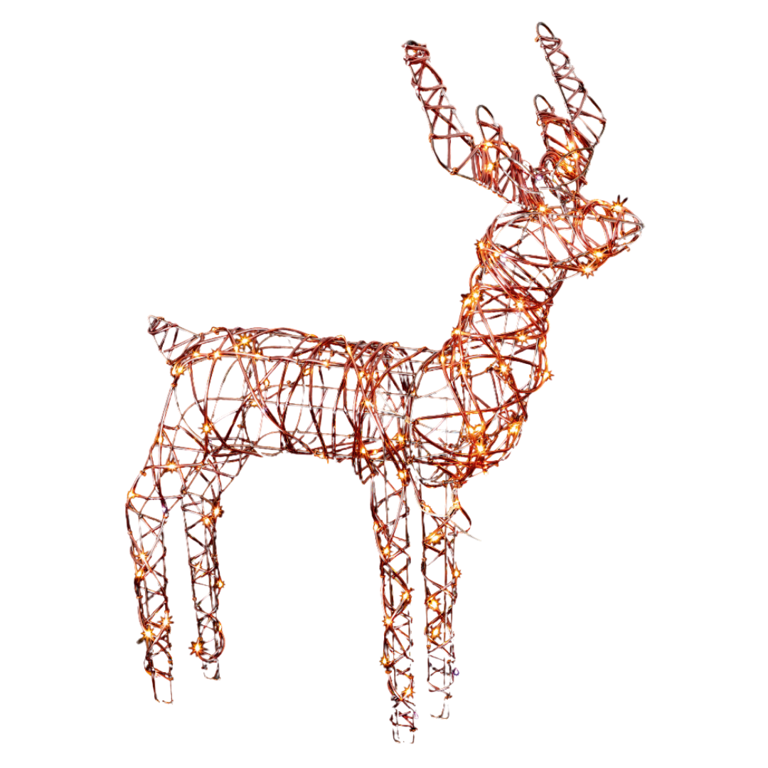 LED Pin Wire Rattan Standing Deer - 1m